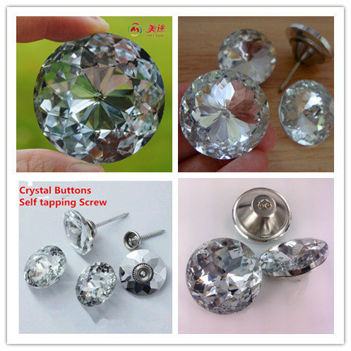Redbud Crystal Button Self Tapping Screw Soft Bag Deco Diamante