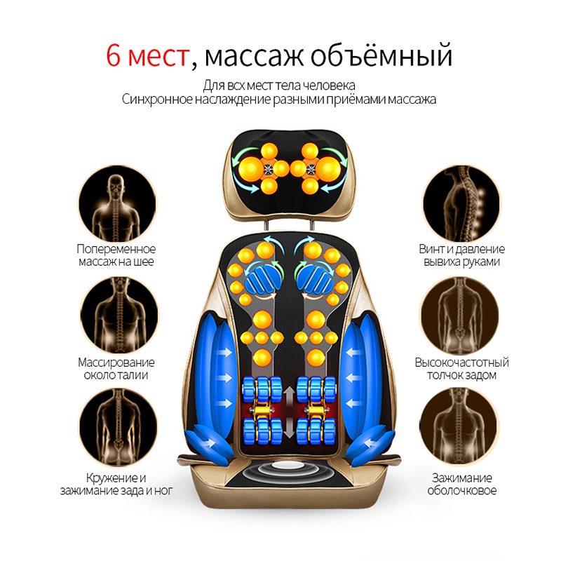 JinKaiRui Electric Back Massager Vibration Cervical Malaxation Massage Device Pillow Neck Household Body Massage Chair neck cervical traction device inflatable collar household equipment health care massage device nursing care