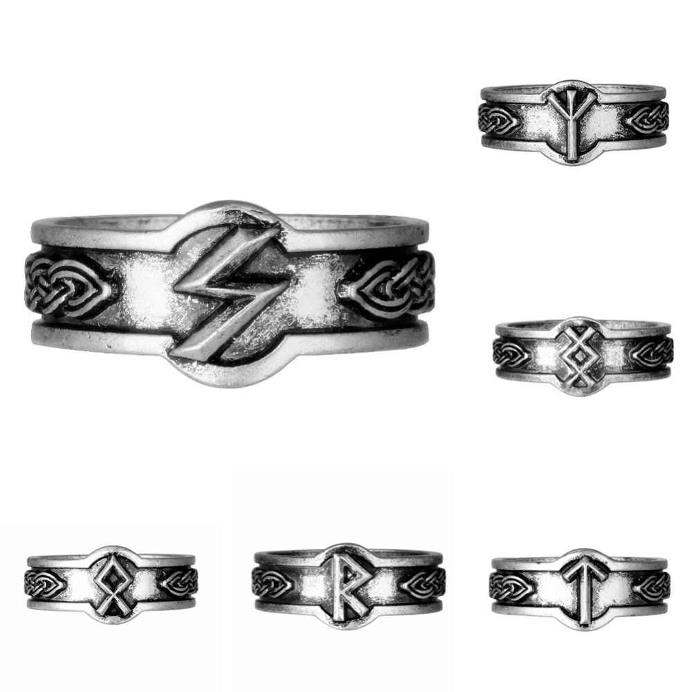 Viking Rune Rings Men Women Norse Knot Runes Signet Scandinavian Odin's God Symbol Anel Bague