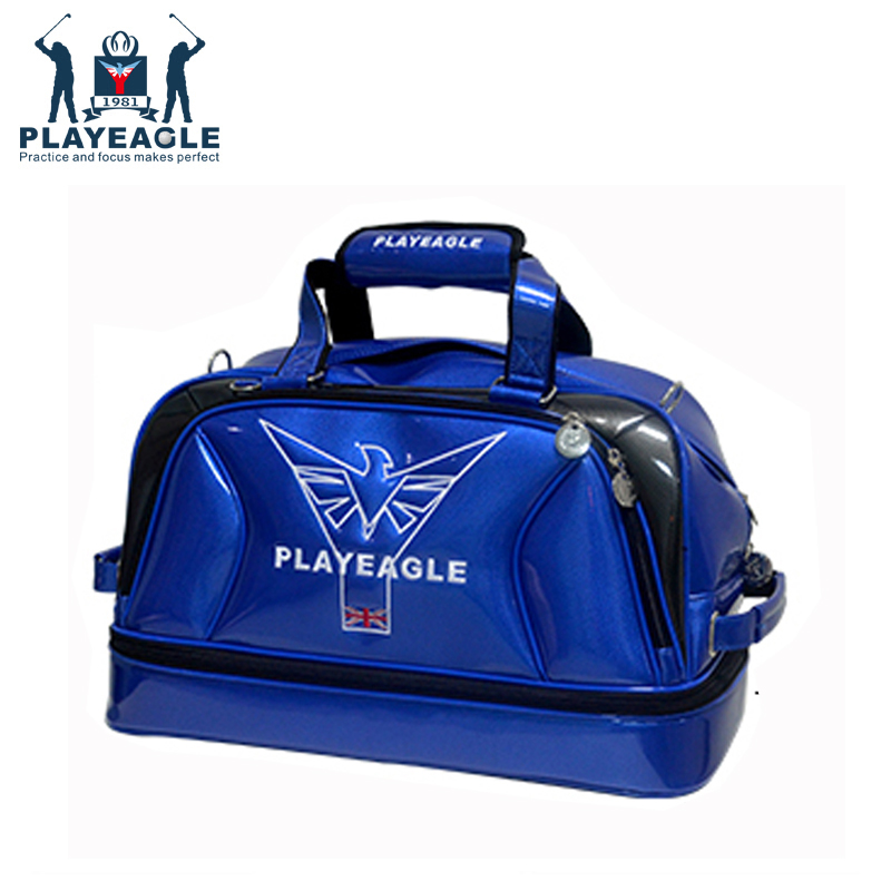 PLAYEAGLE New Arrival Double-layer Men's Golf Duffel Bag PU Smooth Golf Bag For Travel Waterproof Boston Bag With Shoe Pocket