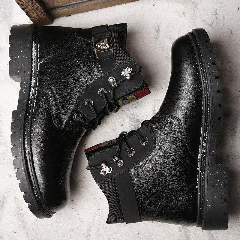 Noir Neige marron Plein De En La Chaussures Chaud Hommes Martin Cheville Hiver Véritable Laine Plus Main Bottes Cuir Travail Air À aHwOWq