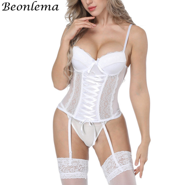 Beonlema Women Sexy Underwear Corset Erotic Korse Transparent Lace Mesh Corset Top Lingerie Slim Waist Bustier Push Up Corselet 1
