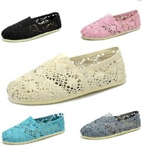 Free shipping Women's sunflower hollow out crochet soft bottom casual shoes, EVA flat Classic canvas shoes 5color Size: 35-40
