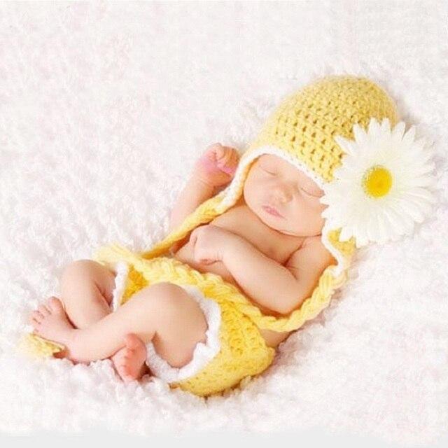 Trẻ sơ sinh Cô Gái Cậu Bé Đạo Cụ Chụp Ảnh Nhỏ Bé Chụp Ảnh Crochet Daisy Hat Trang Phục Trẻ Sơ Sinh Photoshooting Quần Áo fotografia Đạo Cụ