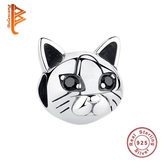 BELAWANG 925 Sterling Silver Pet Cat Black Stone Eye Cute Animal Charm fit  Original Bracelet&Bangle DIY Jewelry