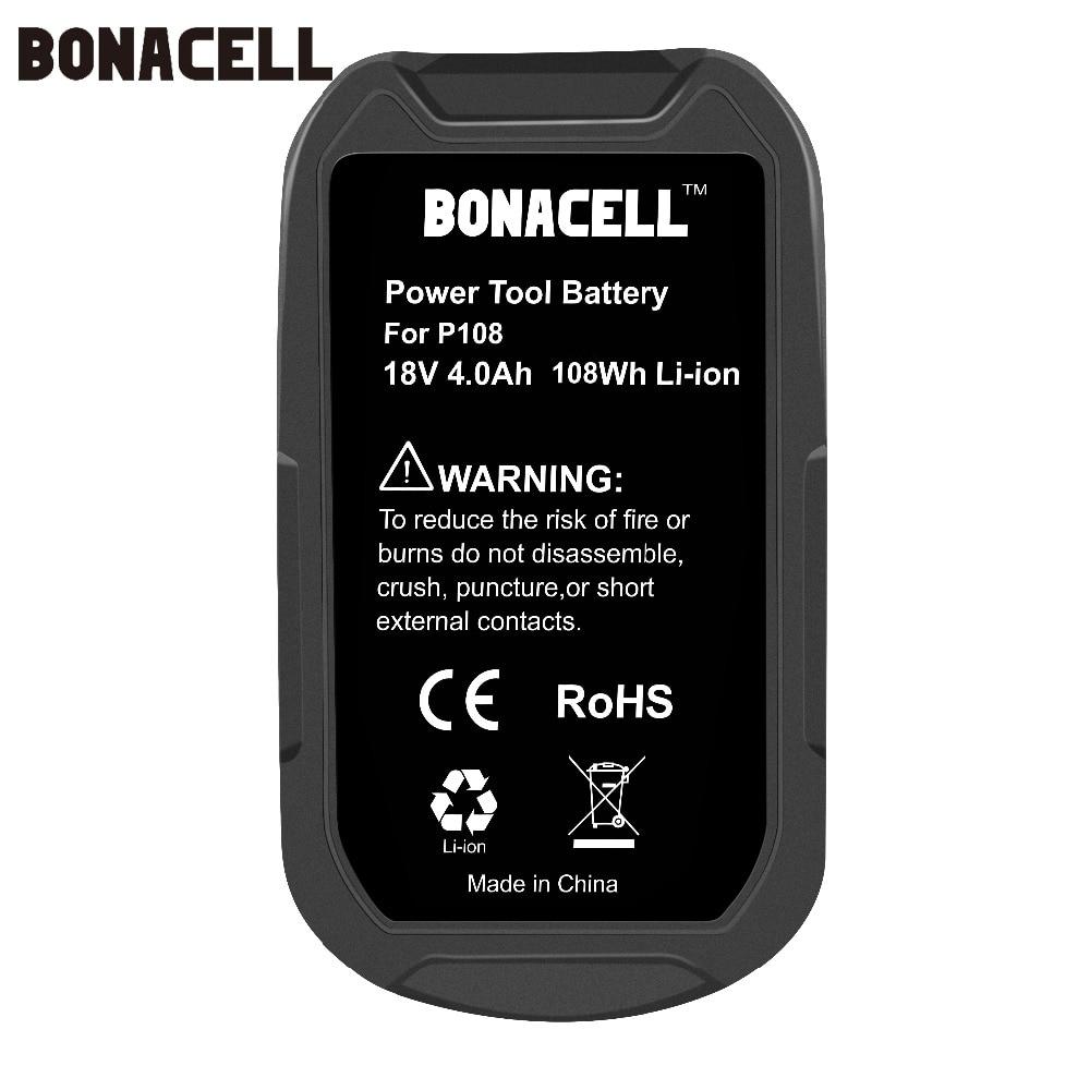Image 4 - Bonacell 18 V 4000 мА/ч, литий ионный аккумулятор P108 P 108 Перезаряжаемые аккумулятор для Ryobi Батарея RB18L40 P2000 P310 для BIW180 L30-in Подзаряжаемые батареи from Бытовая электроника