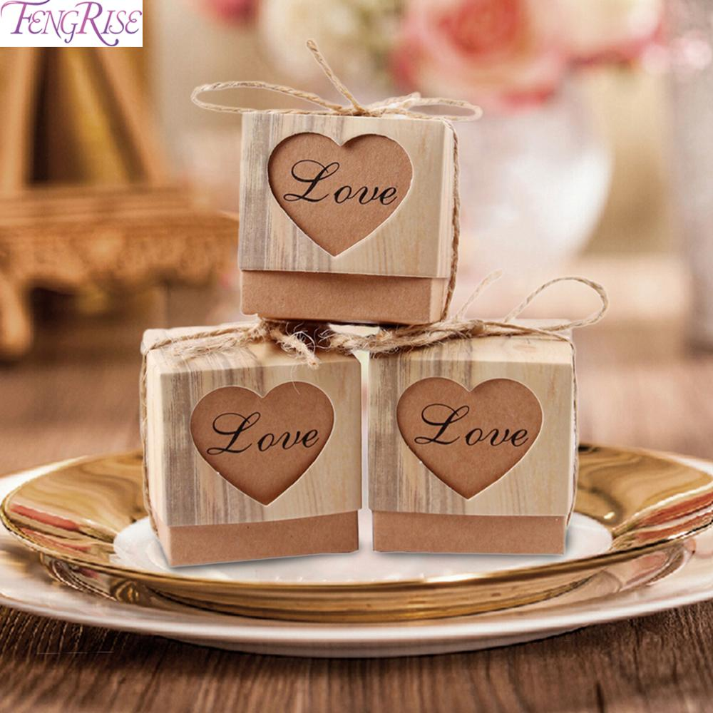 FENGRISE 50PCS Wedding Favor Boxes For Guests Kraft Box With Rustic Burlap Twine Boxes Sweets Wedding Decoration Supply Gift Box