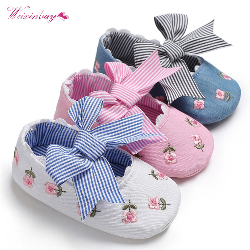Fashion Embroidered Flower Princess Shoes For Toddler Baby Girls Big Bow Soft Sole Newborn Baby Moccasins Shoes