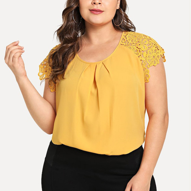 Plus Size Summer Fashion Floral Lace Blouse Casual Ladies Sexy Solid Tee Tops Female Women Short Sleeve Shirt