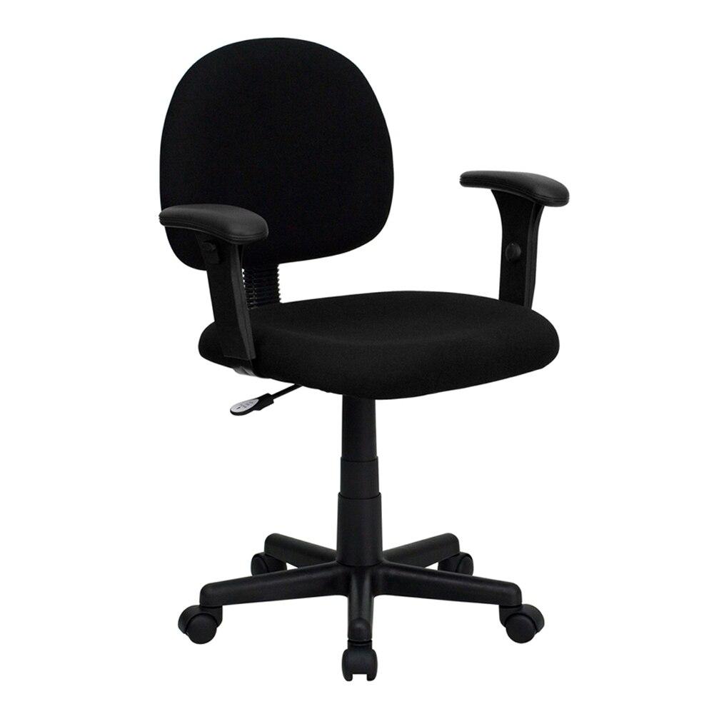 Flash мебель-Эргономичная спинка черная ткань стул с регулируемой оружием [863-BT-660-1- ...