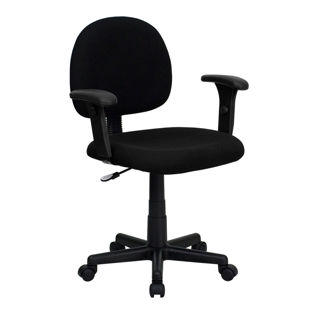 Flash Furniture Mid-Back Ergonomic Black Fabric Task Chair with Adjustable Arms [863-BT-660-1-BK-GG]