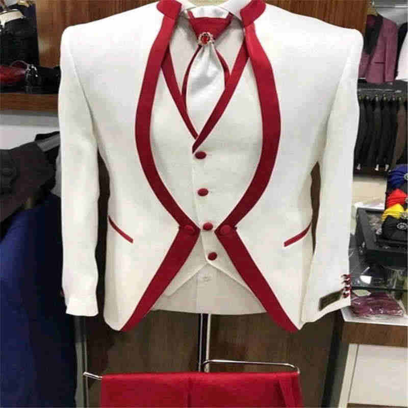 White Red Rim Stage Clothing For Men Suit Set Mens Wedding Suits Costume Groom Tuxedo Formal (Jacket+pants+vest+tie)