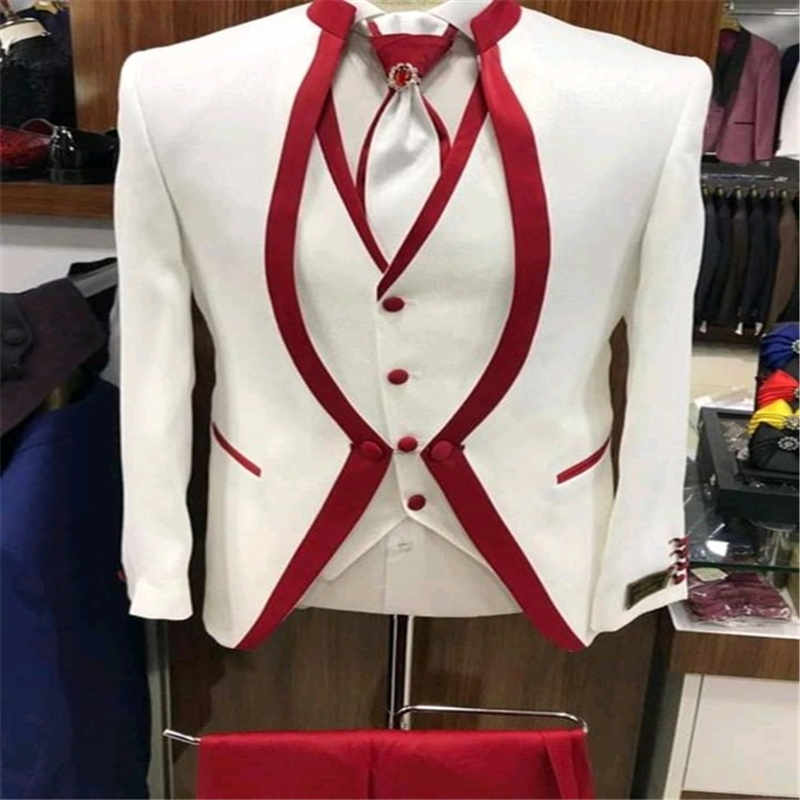White Red Rim Stage Clothing For Men Suit Set Mens Wedding Suits Costume Groom Tuxedo Formal (Jacket+pants+vest+tie)