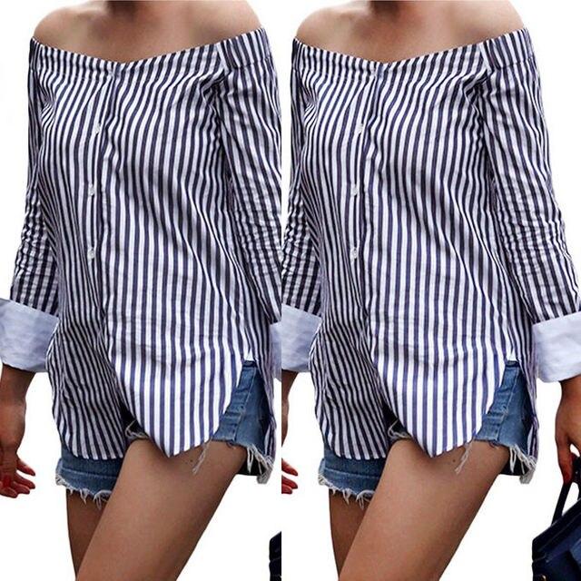 b01740a213a7 Fashion Autumn Striped Print Women Off Shoulder Blouse Winter Long Sleeve  Shirt Women Tops Vintage Ladies Blouses Blusas
