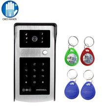 Kablolu Su Geçirmez Görüntülü Kapı Telefonu interkom sistemi Açık Kamera Ünitesi led ışık Görüş Yağmur Geçirmez Kapak ve RFID Keyfobs