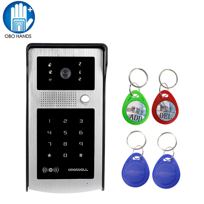Wired Waterproof Video Door Phone Intercom System Outdoor Camera Unit LED Light Vision with Rain Proof Cover and RFID Keyfobs 7 inch rain proof lens adjustable wired intercom video door phone with two outdoor camera