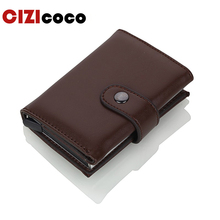 Cizicoco 2019 Men And Women Credit Card Holder RFID Aluminium Business Fashion PU Leather Wallet Hasp Purse