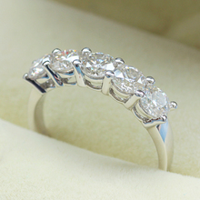 Queen Brilliance 1.5 ct tw FGH Color Engagement Wedding Band Half Eternity Moissainite Diamond Ring 14K 585 White Gold jewelry