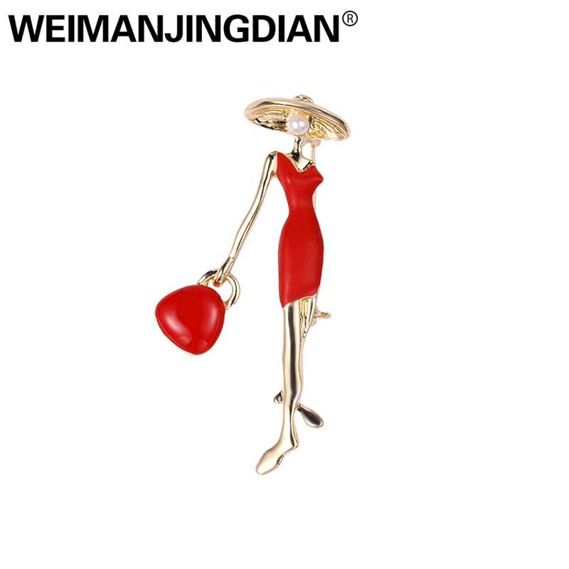 WEIMANJINGDIAN New Arrival Red or Black Pretty Lady Fashion Brooch Enamel Pins Jewelry for Women Bags Hats