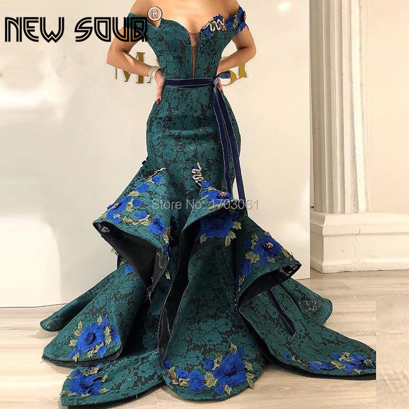Arabic Couture New   Evening     Dresses   2019 Lace Appliques Green Prom   Dress   Formal Party Gowns Turkish Robe de Soiree Abendkleider