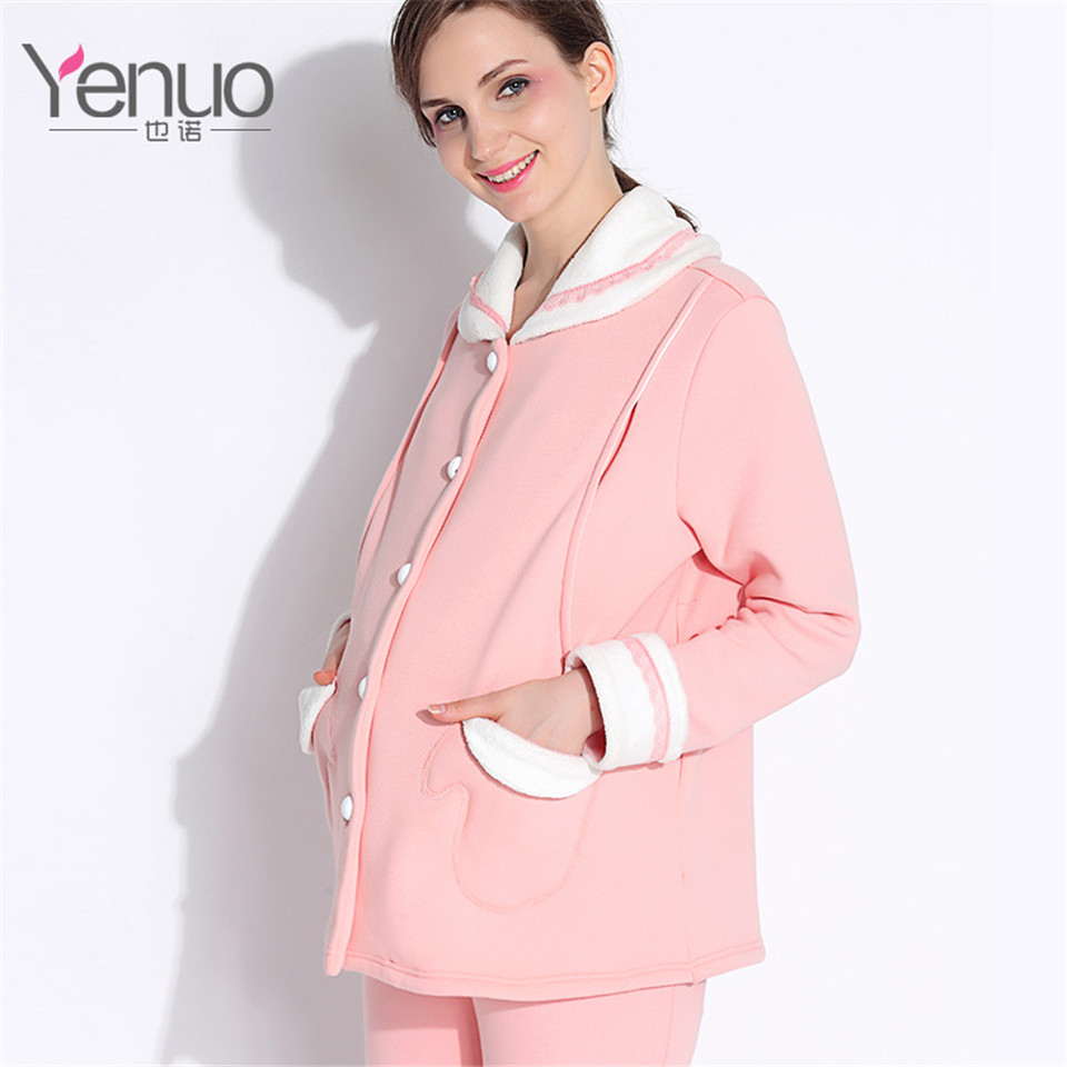 Winter Maternity Clothes Cotton Sleepwear Pregnancy Suit Maternity Sleep Lounge Home Pajama Sets Maternity Nursing Wear NOVA MAM maternity pajama hot robes autumn winter pregnant woman unisex home coral fleece pajama comfortable solid pockets women bathrobe