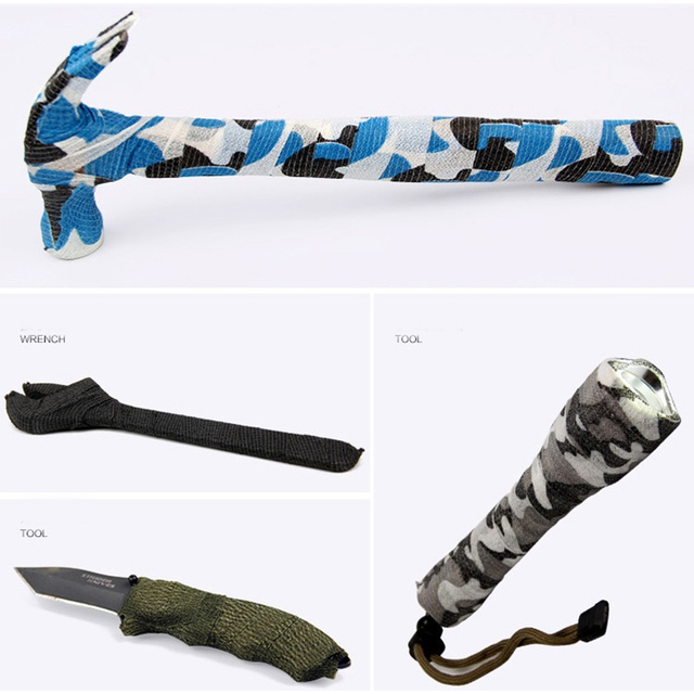 5cmx4.5m Self Adhesive Elastic Camo Tape Survival Army Camouflage Wrap Bionic Stretch Bandage Waterproof for Gun Accessories 4