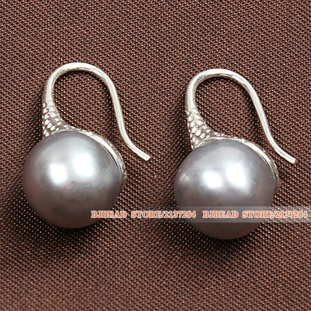 Best Gift For Mother Simple Style Natural Grey Freshwater Pearl Earrings Women