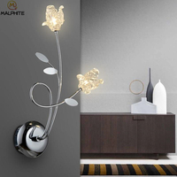 Nordic Crystal Flower Wall Lamp LED Indoor Wall Lamps Deco Living Room Lighting luminaire Modern Wall light For Bedroom Fixture
