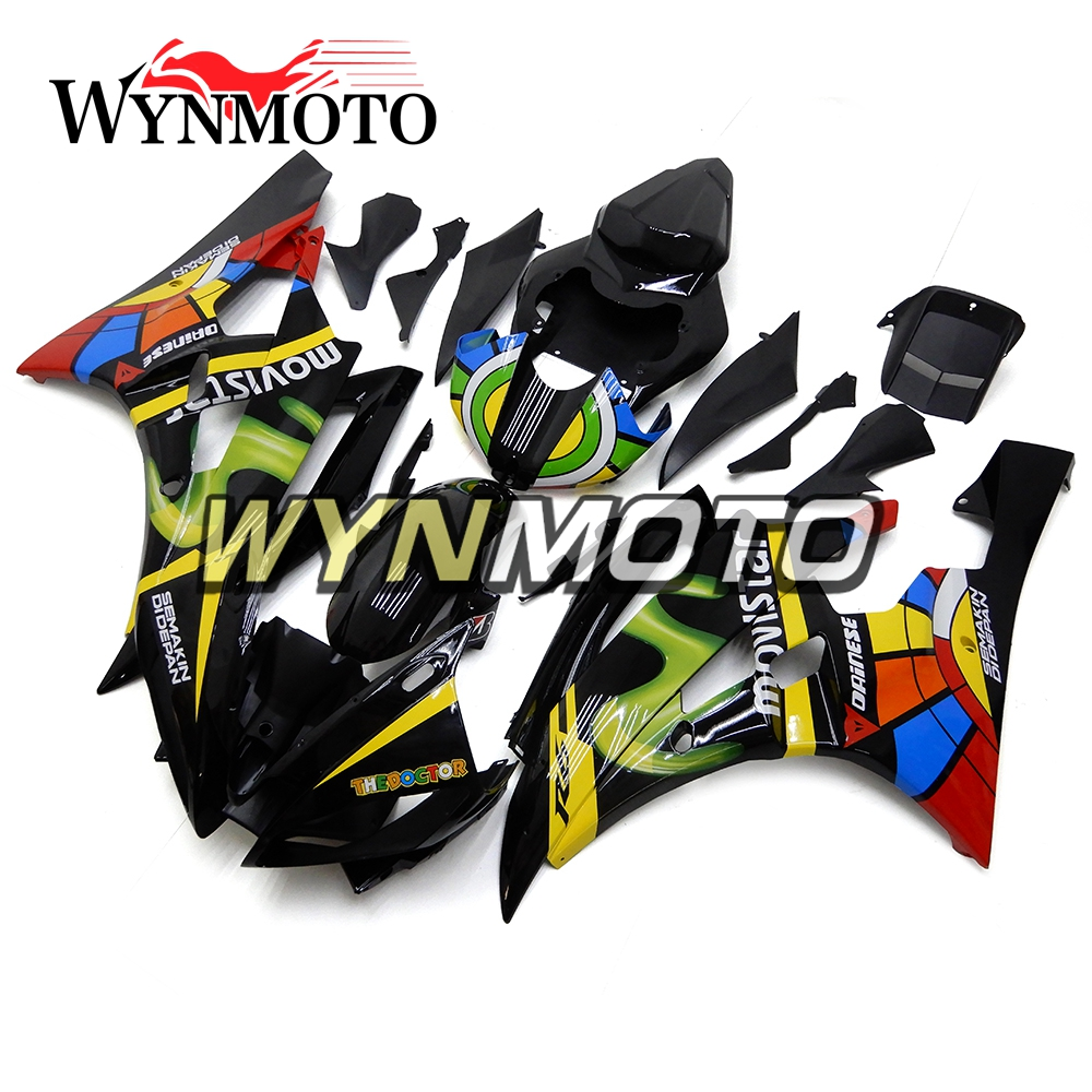 Full ABS Injection Plastics Fairings For Yamaha YZF R6 Year 2006 2007 06 07 Motorcycle Fairing Kit Bodywork Black Colorful injection molding bodywork fairings set for yamaha r6 2008 2014 all matte black full fairing kit yzf r6 08 09 14 zb74