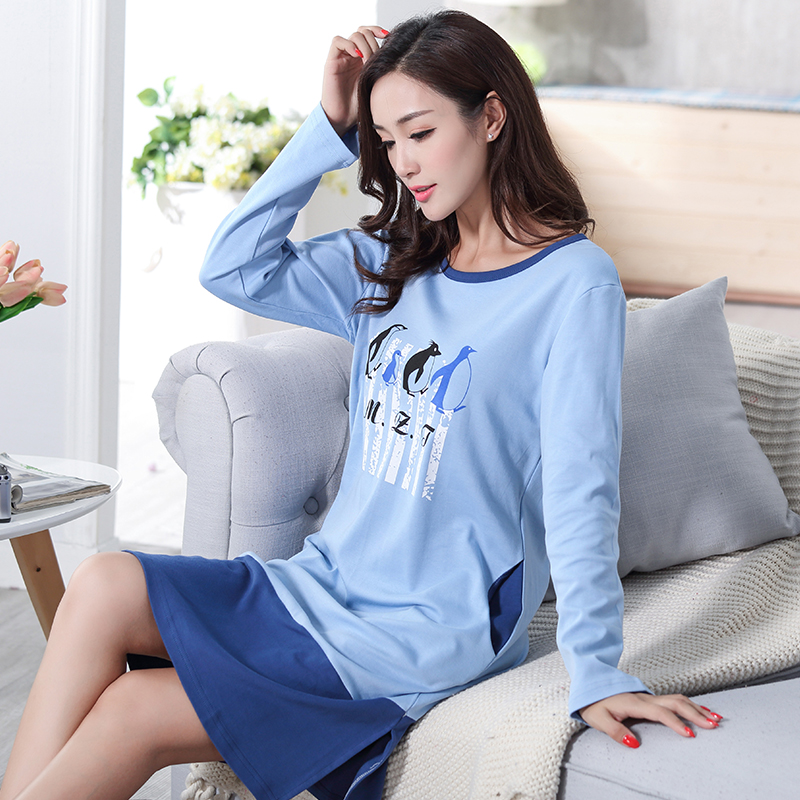 Autumn 100% Cotton Women's   Nightgown   Lounge Nightdress Femme Print Sleepwear Casual Girls Nightwear Loose   Nightgowns     Sleepshirts