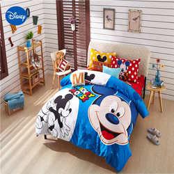 Niebieski Mickey mouse pokrowiec na pierzynę zestaw królowa twin duży rozmiar disney minnie pościel łóżko pojedyncze ubrania poduszka pokrywa słodki upominek chłopiec w Zestawy pościeli od Dom i ogród na