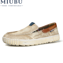 MIUBU MenS Canvas Shoes Plus Size Slip-On Men Breathable Casual Loafers Flats Zapatos Hombre