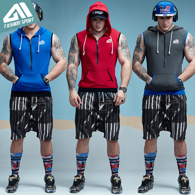 Aimpact GYM Workout Tank Top Sport Fitted Sleeveless Hoodies Mens Tapered Zip Athletic Hoody Activewear Crossfit Workout Tees 4