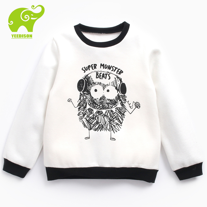 Yeedison 3T-12Y Casual Kids Sweatshirt Boy Cottony Loose Active Daily Wear Girls Sweatshirt Thick Warm Autumn Tops Boys Clothing