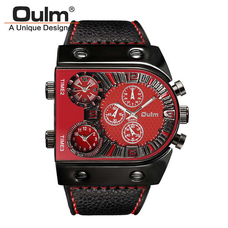 Men s Watches Mens Quartz Sports Casual Leather Strap Wristwatch Man Multi Time Zone Military Male