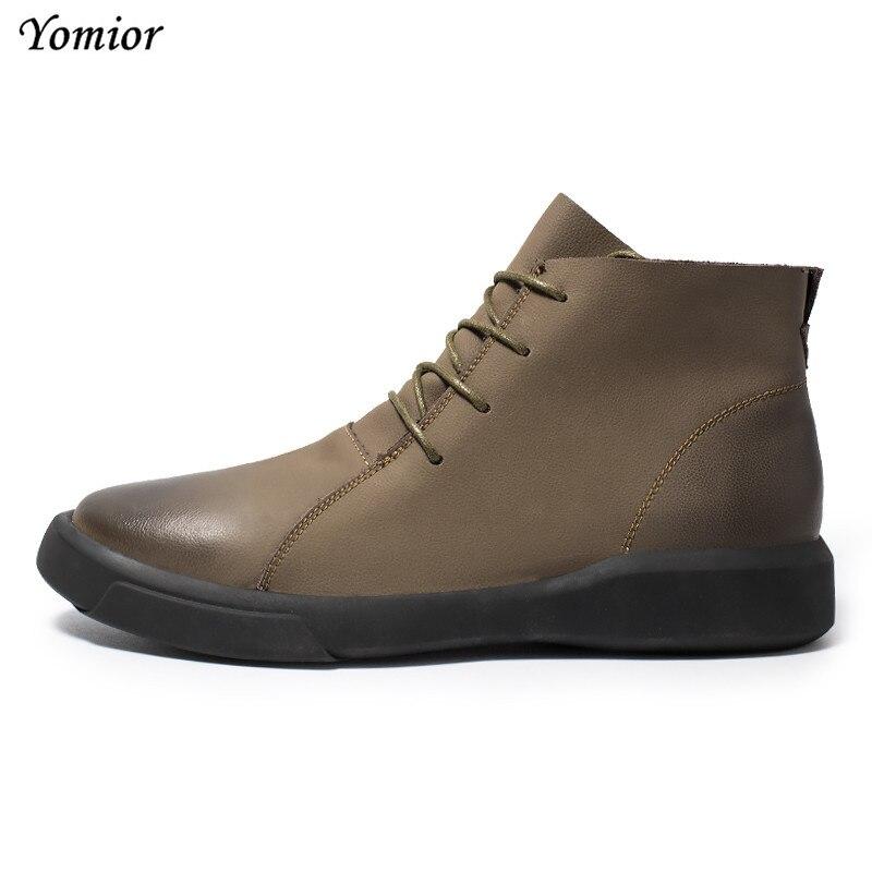 Chaussures Bout En Casual Chaud Peluche Yomior Véritable khaki Plush Cuir Rond Noir Confortable Automne Hiver Mode Hommes winter Black winter Sneakers Cheville Bottes Khaki vmn0ywN8O
