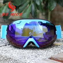 Benice brand New Design Cool Snow Goggles UV 400 Anti-fog double lens Eye wear Sports Protective Safety Skiing Goggles SKI-2800