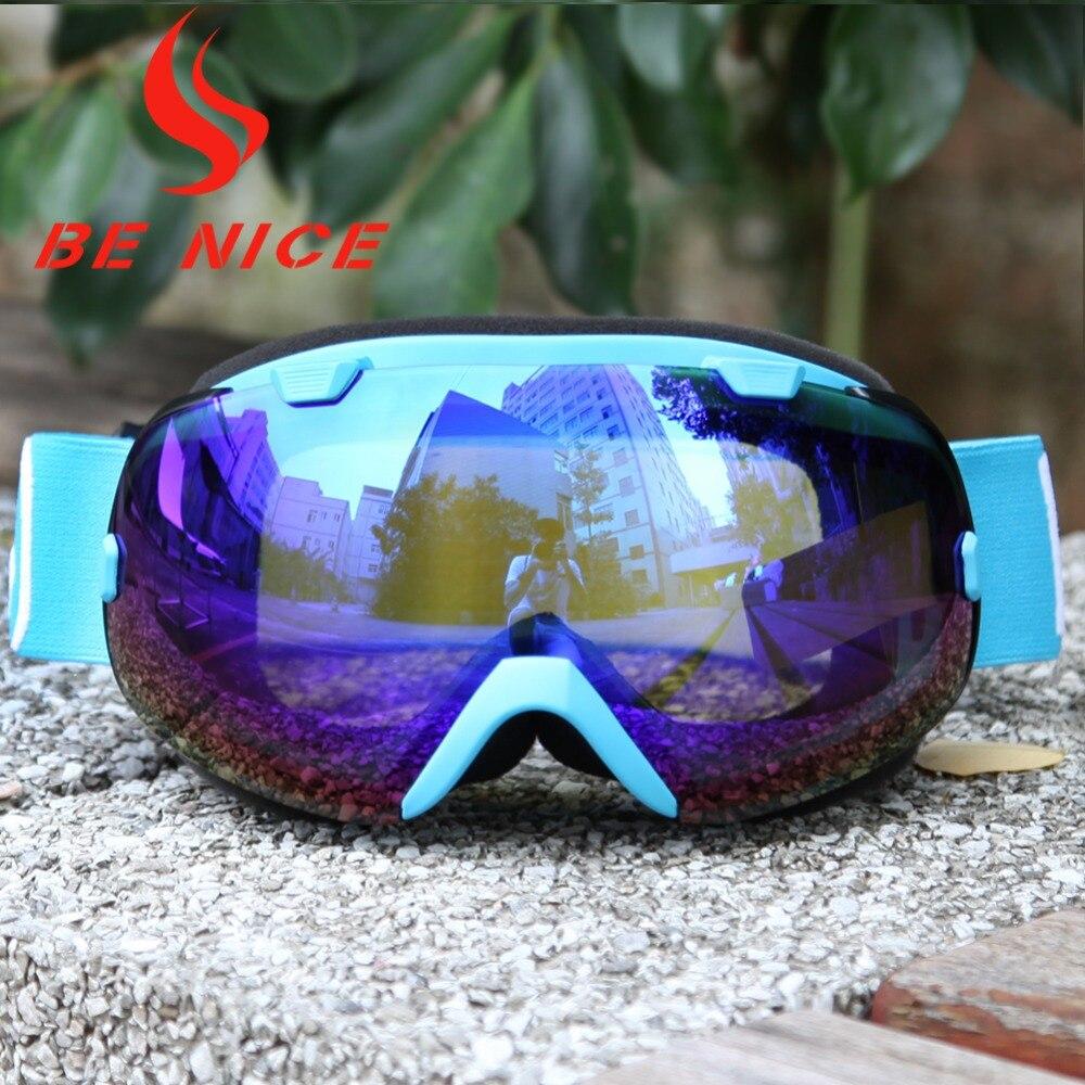 Benice nuevo Diseño Fresco UV 400 Anti-vaho Gafas de Nieve doble lente Ojo desga