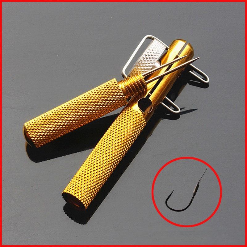 1 piece full metal fishing hook knotting tool tie hook for Fish hook tying tool