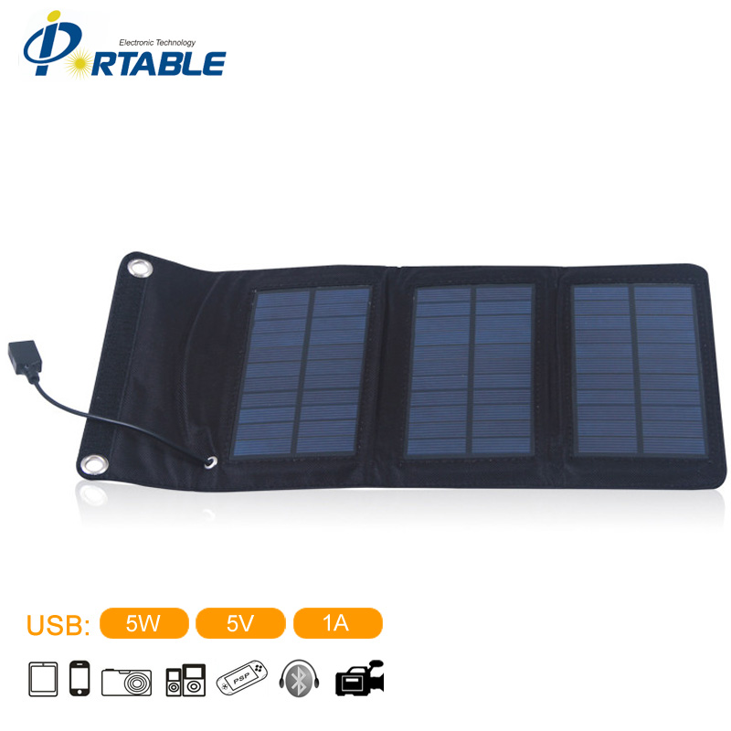 5W Portable Solar Charger Outdoor Folding Charger Bag Solar Panel In Black Color For Mobile phone Power Bank