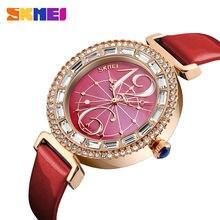 Часы skmei женские кварцевые с кожаным ремешком модные брендовые