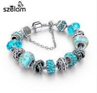 Szelam 2017 New Crystal Beads Bracelets Bangles Silver Plated Charm Bracelets For Women Friendship Pulseras SBR160014 2