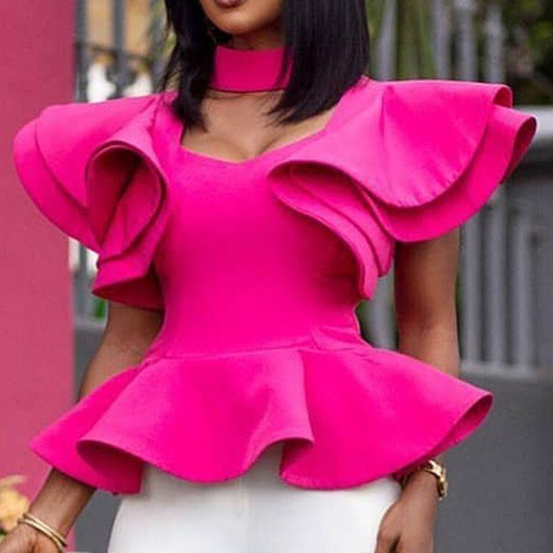 African Women Tops   Blouses   2019 Summer Plain Falbala Short Sleeve   Blouses     Shirts   Office Lady Rose Elegant Female Petal   Shirt