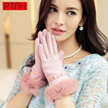 PTAH Winter Women Wool Gloves Rabbit Fur Wrist Mittens Sexy Plaid Bow Glove Outdoor Warmth Soft Iglove For Woman Guantes PT9832
