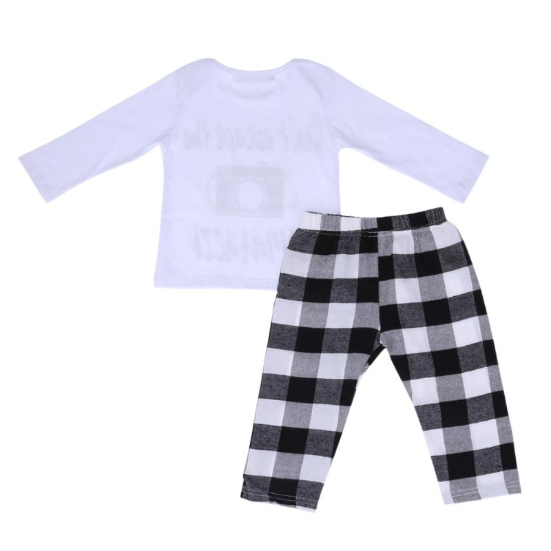 Toddler Body Suit Outfits Set Boys Gils Printed Top White-Black Plaid Pants Kids Clothes Set Clothing