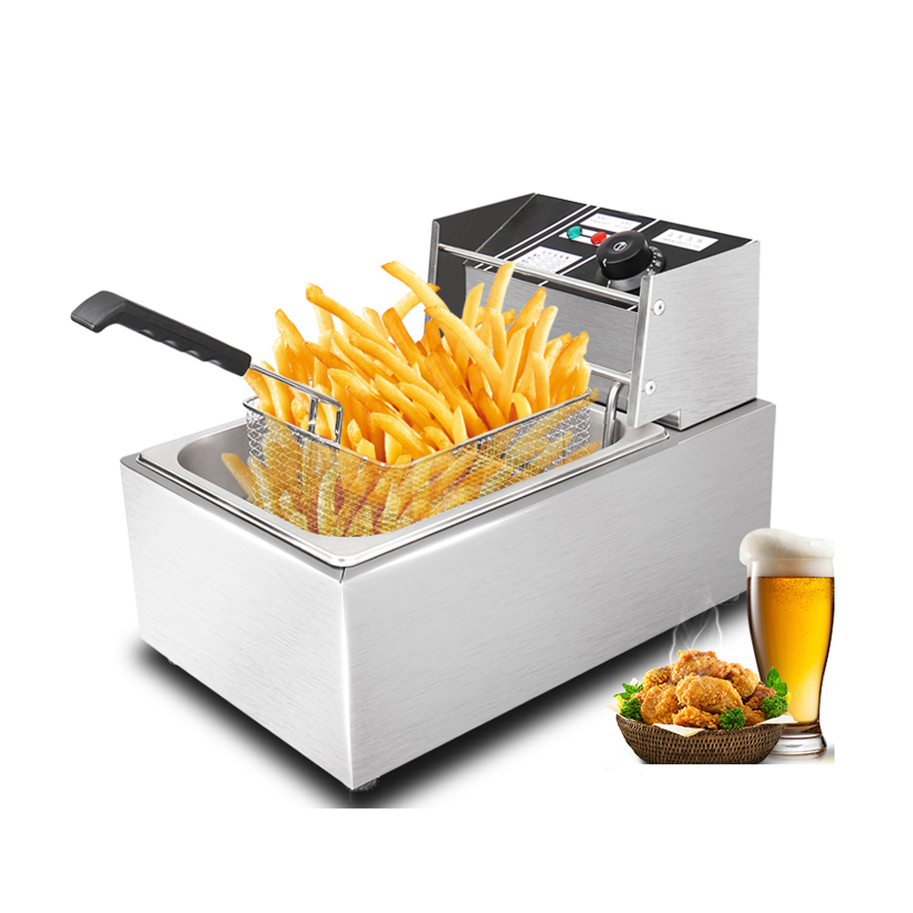 ITOP Stainless Steel 8L/16L Electric Deep Fryer, French Fries Chicken Meat Oil Fryer Commercial Frying Machine 110V 220V stainless steel double tank electric fryer machine 2 5kw 16l electric commercial deep air fryer french fries fried chicken fryer