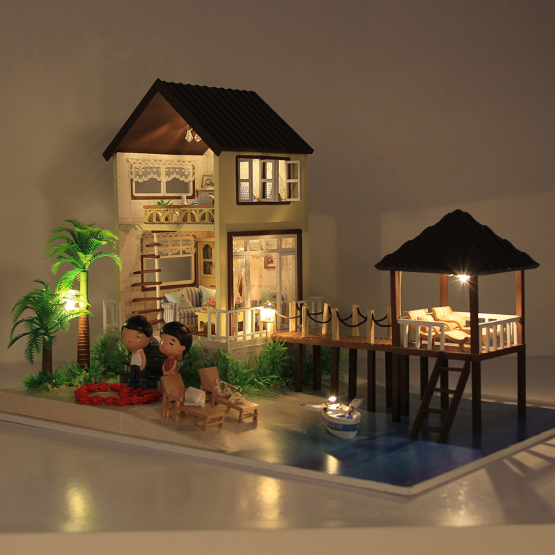 New Large DIY Maldives Dollhouse Wooden Miniature Maldives with 3D LED Light Furniture Craft Handmade Home Decoration Toy 2