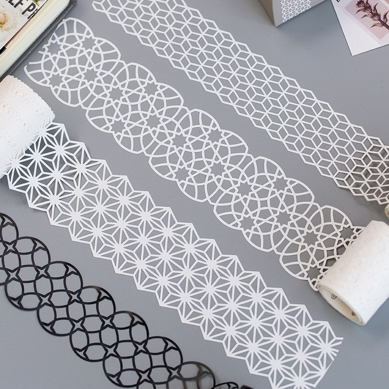 4/5cm*5m Kawaii Cute White Black Lace Hollow Washi Tape Stickers Scrapbooking Masking Tape School Supplies Bullet Journal Sl1943