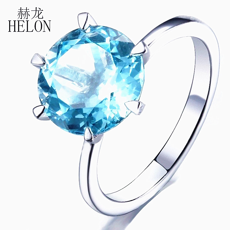 HELON Solid 14kt White Gold Luxury Flawless 10mm Round Blue Topaz Ring For Women Engagement Wedding Party Trendy Fine Jewelry helon sterling silver 925 flawless 8mm round 2 4ct natural white topaz engagement wedding ring for women trendy fine jewelry