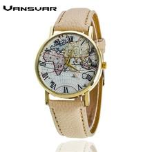 Vansvar Model Style World Map Leather-based Strap Watch Ladies Costume Watches Quartz Watch Girls Wristwatch Relogio Feminino 1548